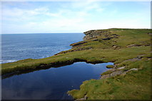 HY2328 : Clifftop reflections, Brough of Birsay by hayley green