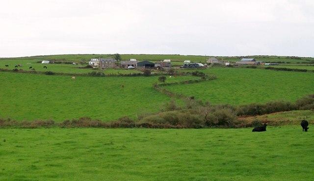 View across the valley towards Cilan Uchaf farmhouse