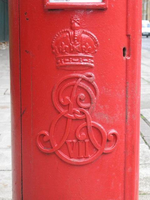 Edward VII postbox, Stanhope Street, NE4 - royal cipher
