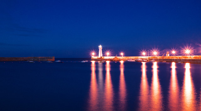 Donaghadee harbour at night