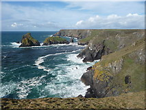 SW6813 : The coastline between Kynance Cove and Pentreath Beach by Jeremy Bolwell