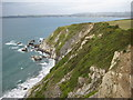 SX0949 : View west from Gribbin Head by Philip Halling