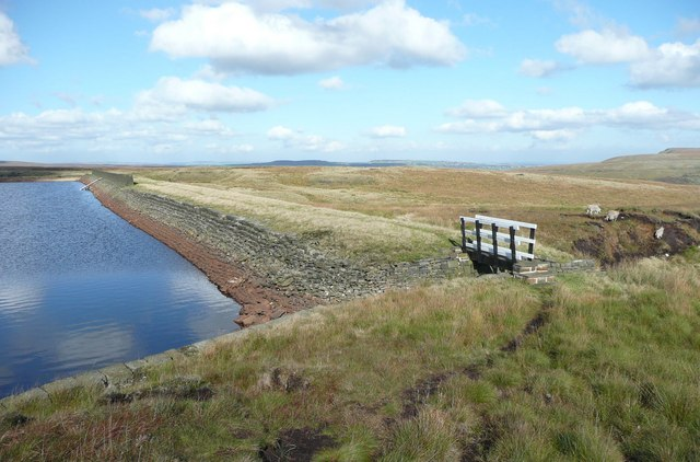 The dam of Swellands Reservoir, Marsden