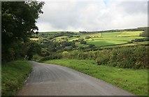 SX0166 : Down the hill towards Ruthernbridge by roger geach