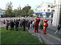 SS6593 : Flash-mob on grassy area adjacent to Swansea Castle by Hywel Williams