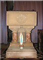TF6923 : All Saints' church in Roydon - baptismal font by Evelyn Simak