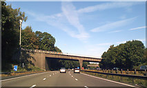 SJ8441 : Hanchurch Lane crosses M6 North at Hanchurch by Robin Stott