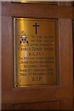 SS9712 : Tiverton: Blundells School, memorial in chapel by Christopher Hilton