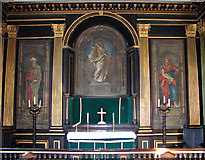 TF6415 : All Saints' church in North Runcton - the reredos by Evelyn Simak