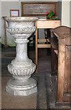 TF6415 : All Saints' church in North Runcton - 'birdbath' font by Evelyn Simak