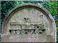 TG2408 : Rosary cemetery, Norwich - gravestone (detail) by Evelyn Simak