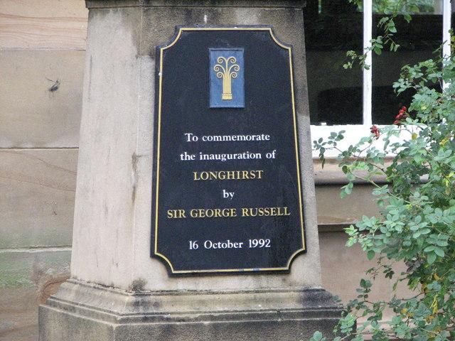 Commemorative plaque, Longhirst Hall