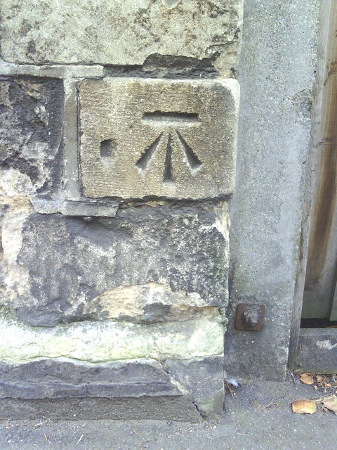 Benchmark on gatepost next to The Original Swan