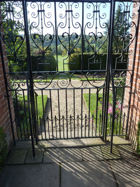 South gate leading from the rose garden  to the herbaceous border and the croquet lawn