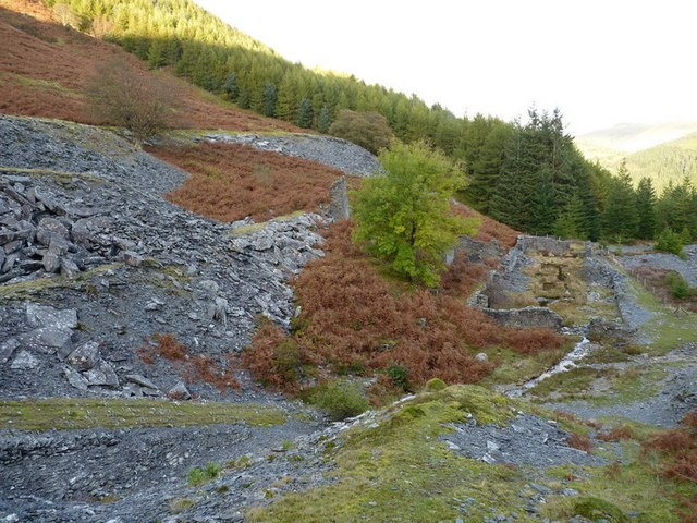 Old quarry workings above Dinas Mawddwy