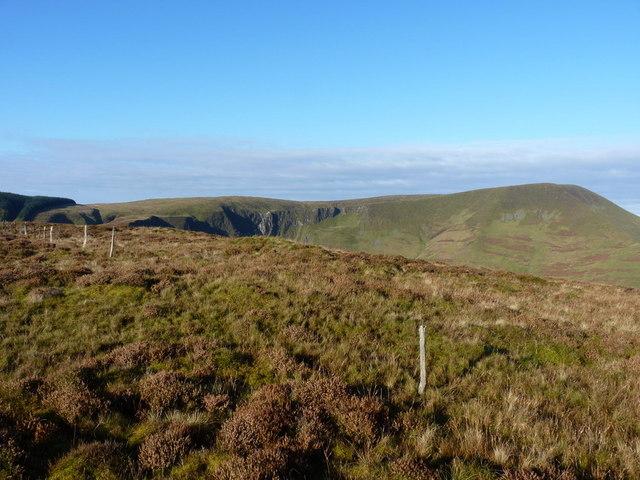 Old fenceposts on the summit of Foel Dinas
