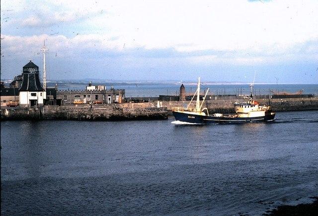 A Danish trawler entering port at Aberdeen (1978)