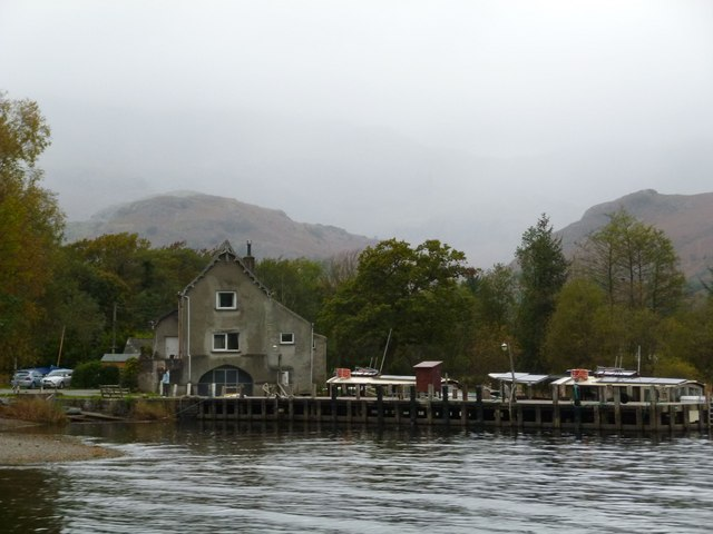 Coniston:Waterhead Pier, with Pier Cottage