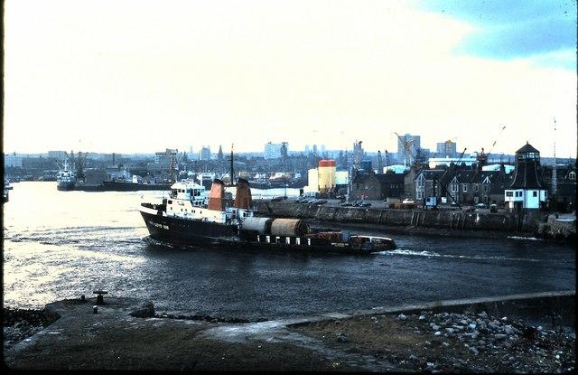 Oil Supply vessel entering port, Aberdeen (1978)