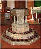 TG4802 : All Saints' church in Belton - Norman baptismal font by Evelyn Simak