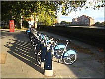 TQ2977 : Cycle hire station in Grosvenor Road by Rod Allday