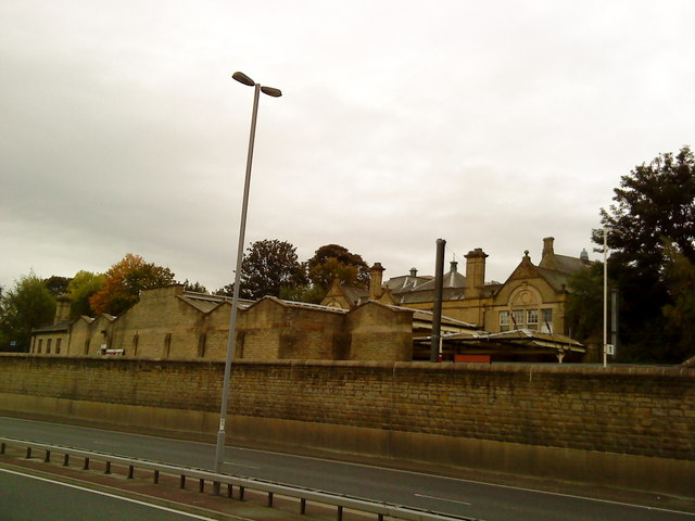 Bingley Railway Station from the canal towpath