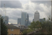 TQ3882 : View of Canary Wharf from the District line by Robert Lamb