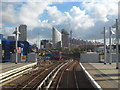 TQ3780 : Looking west along the tracks at Poplar DLR station by Rod Allday