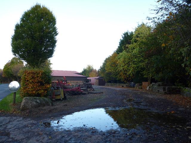 Rural East Lothian : Farm Buildings and Storage Yard at Markle Mains, near East Linton