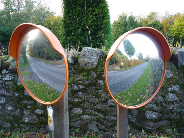 Rural East Lothian : Roadside Mirrors In Stereo at Markle Mains
