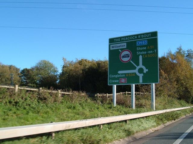 On the A500 near Willaston