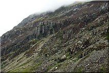 SH6356 : Scree and crags in Llanberis Pass by Steve Daniels