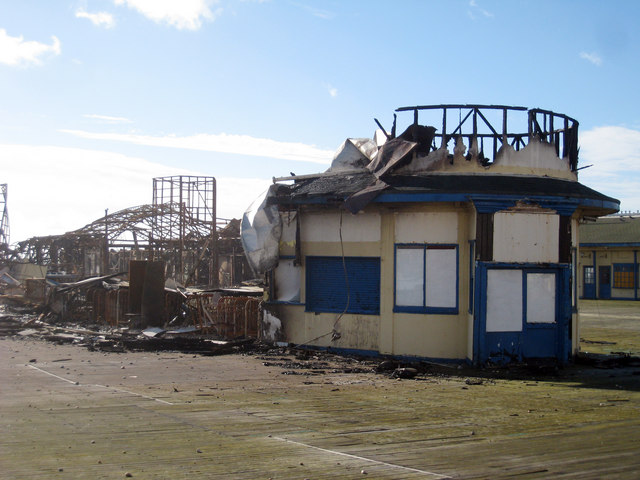 Fire damaged pier