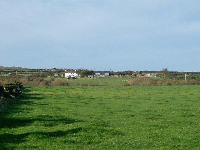 View west across farmland towards Ty-Isaf