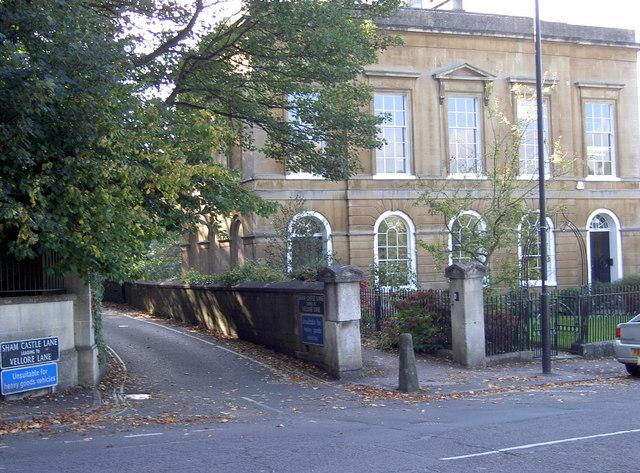 General view of junction of Sham Castle Lane