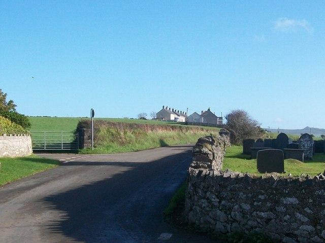 Staggered crossroads near Eglwys Newydd