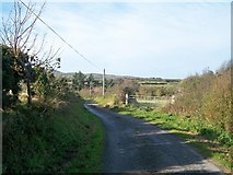 SH1728 : Lon Ty Isaf - a narrow country lane west of Cyll-y-Felin crossroads by Eric Jones