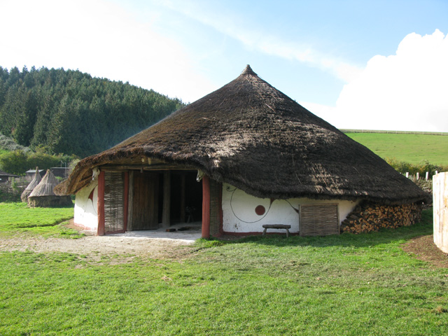 Largest of the replica iron-age roundhouses, Butser Farm