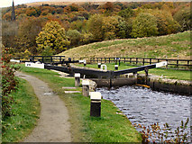 SD9321 : Rochdale Canal, Nip Square Lock. by David Dixon