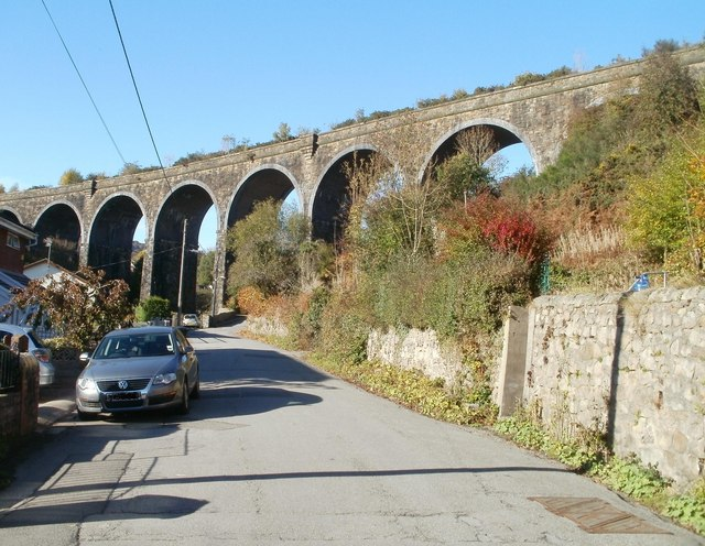 Garndiffaith Viaduct crosses Viaduct Road