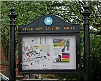 SJ9223 : River Sow Leisure Route information board by P L Chadwick