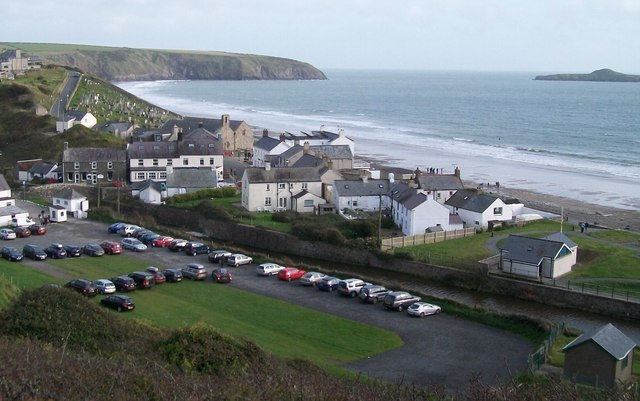 The car park and pump house on the north side of Afon Daron at Aberdaron