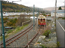 SC4384 : Tram crossing, Ramsey Road, Laxey by Colin Park