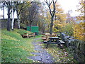 SD9904 : The beer garden at the Railway Inn, Greenfield by Ian S