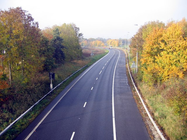 Slip road on the M56 at Stoak, Cheshire