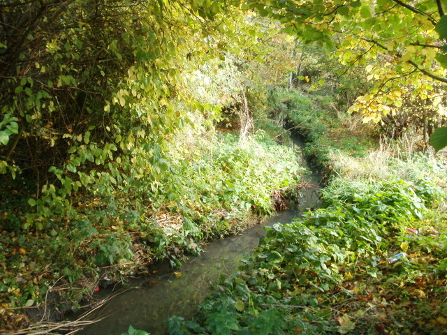 Stream between railway station and cycle path, Filton