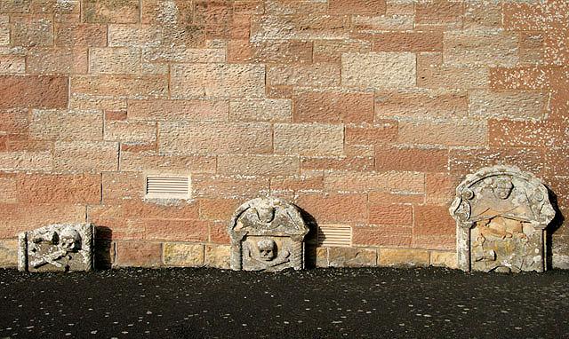 Old gravestones at Ruberslaw Parish Church, Bedrule