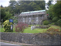 NM9247 : Church of the Holy Cross, Portnacroish. Re-roofing in progress. by Alan Barlow