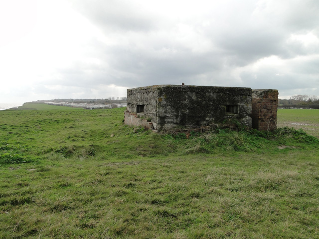 Brick and concrete machine gun post on the cliff at Corton