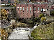 SD8913 : River Roch, Weir - Waterside House by David Dixon